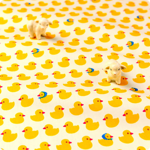Farm - yellow & white rubber duck headscarf cotton fabric