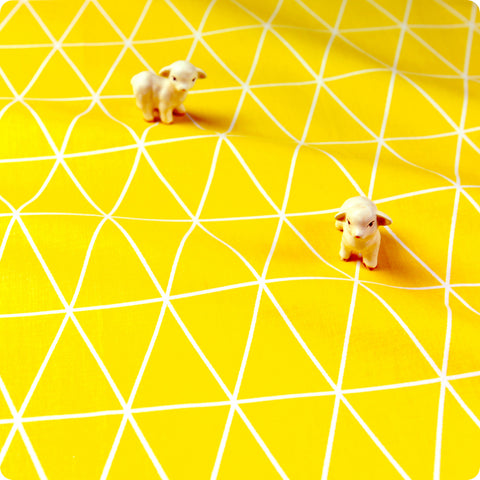 Triangle - yellow & white geometric triangle cotton fabric W:160cm FQ1611-03