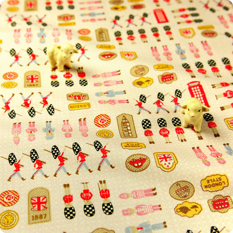 Britannia - beige & pink London toy soldiers cotton fabric
