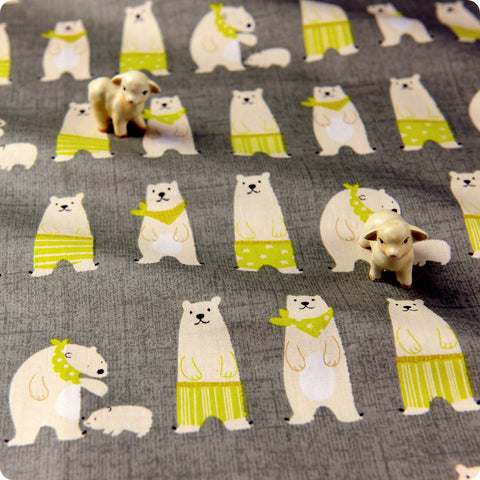 Christmas - grey & lime polar bear cotton fabric
