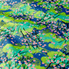 Japanese - blue & gold plum blossom metallic cotton fabric