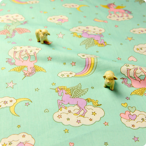 Unicorn - blue pastel rainbow cotton fabric W:160cm FQ1611-22
