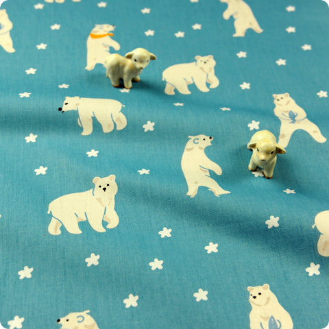Zoo - blue & white winter polar bear & stars (width: 160cm) cotton fabric