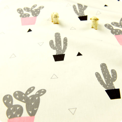 Pink & grey summer cactus (width: 160cm) cotton fabric
