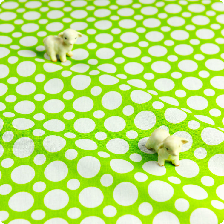 UK Fabric Store - Green Spotty Polka Dots 100% Cotton Quilt Material ...