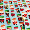Christmas - blue & red Xmas nutcracker & Santa cotton fabric