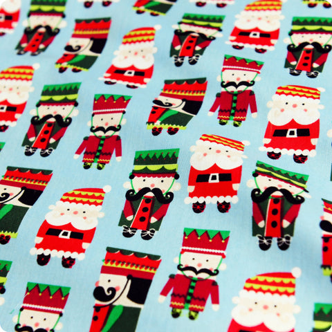 Christmas - blue & red Xmas nutcracker & Santa cotton fabric FQ1709-07