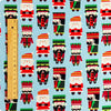 Christmas - blue & red Xmas nutcracker & Santa cotton fabric W:110cm FQ1709-07
