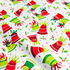 Christmas - white green & red Xmas bells cotton fabric W:110cm FQ1709-09
