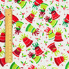 Christmas - white green & red Xmas bells cotton fabric FQ1709-09