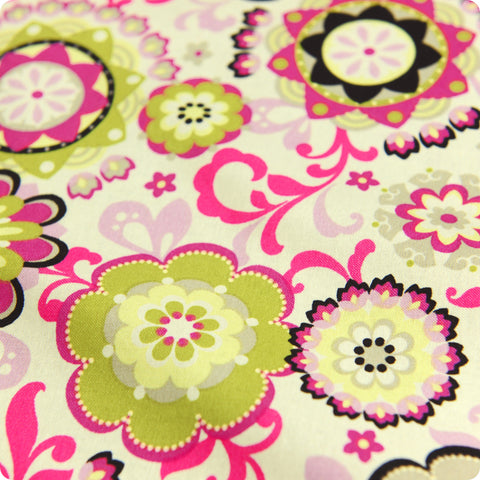 Uk fabric store pink floral flowers gorgeous cotton quilt material bold floral pink green lime multicoloured flowers cotton fabric mightylinksfo