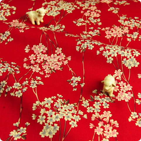 Japanese - red & black lucky cats (width: 140cm) linen fabric