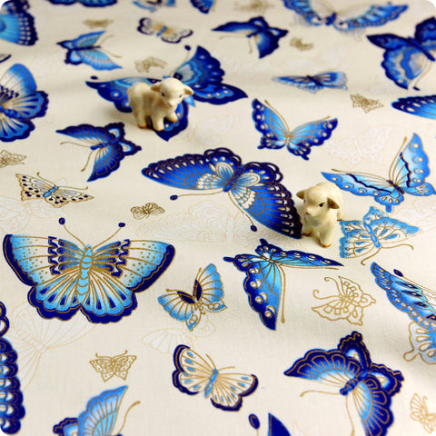 Japanese - blue cream & gold oriental butterfly cotton fabric W:140cm FQ1709-13