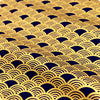 Japanese - blue navy & gold metallic retro seigaiha wave (width140cm) cotton fabric
