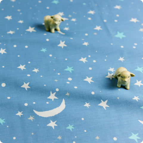 Stars - pastel blue & white moon cotton fabric W:160cm FQ1709-22