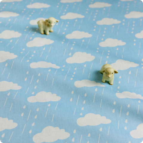 Weather - blue & white rain clouds (width: 160cm) cotton fabric
