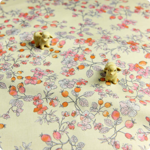 Flowers - cream pink & orange watercolour floral & berry (width:160cm) cotton fabric