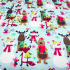 Christmas - blue & brown snowman reindeer & winter animals brushed cotton flannel fabric - FQ1709-33