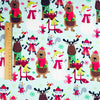 Christmas - blue & brown snowman reindeer & winter animals brushed cotton flannel fabric FQ1709-33