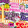 Multicoloured Little Miss cotton fabric W:145cm FQ1802-01