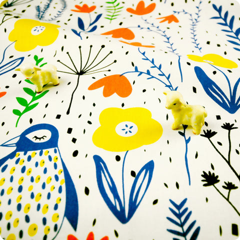 Zoo - white, blue & orange penguin & flowers (width: 160cm) cotton fabric FQ1802-02