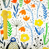 Zoo - white, blue & orange penguin & flowers (width 160cm) cotton fabric FQ1802-02
