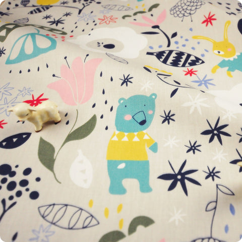 Zoo - grey rabbit, bears & owls with flowers (width 160cm) cotton fabric FQ1802-03