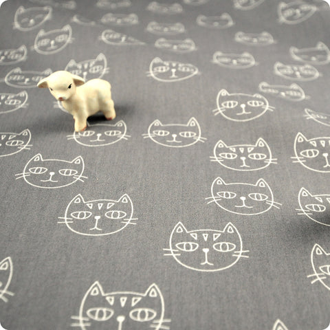 Pets - grey cat heads (width: 160cm) cotton fabric FQ1802-05
