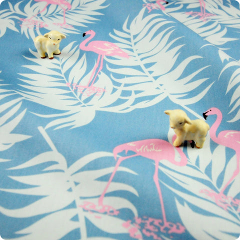 Birds - blue & pink flamingo & leaves (width: 160cm) cotton fabric FQ1802-11