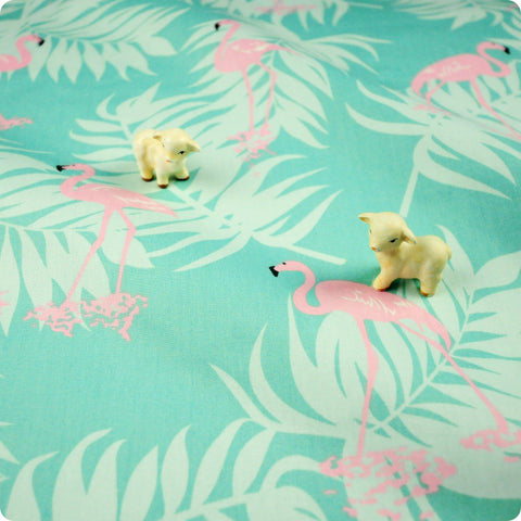 Birds - green & pink flamingo & leaves (width: 160cm) cotton fabric FQ1802-12