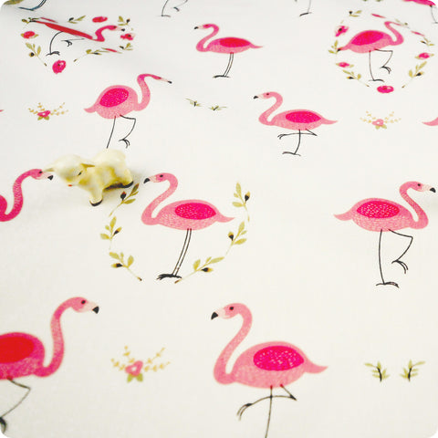 Birds - pink & white flamingo & floral wreath (width: 160cm) cotton fabric FQ1802-13