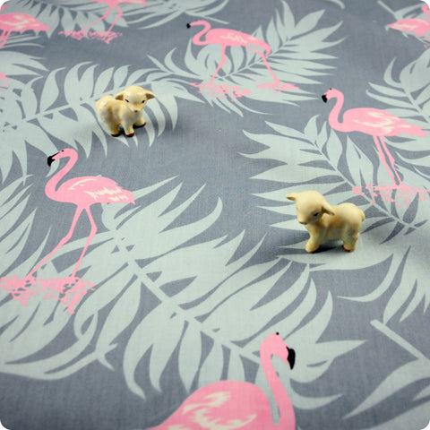 Birds - grey & pink flamingo & leaves (width: 160cm) cotton fabric FQ1802-14
