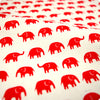 Zoo - white & red petite elephant (width 160cm) cotton fabric FQ1802-16