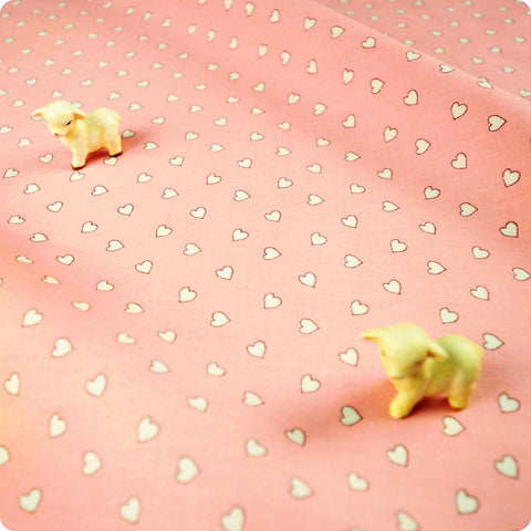 Love - pink & white petite hearts (width: 160cm) cotton fabric - FQ1802-19
