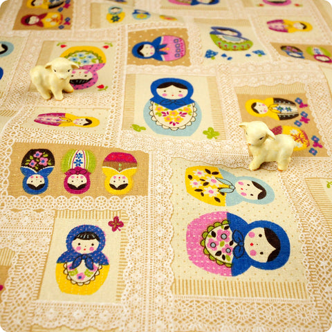 Russian Dolls - taupe babushka distressed natural linen fabric FQ1802-33
