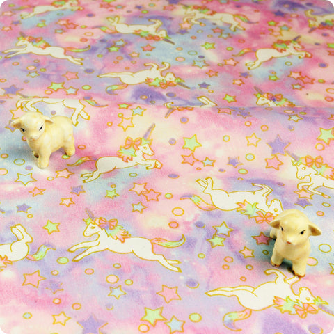 Unicorn - pink & purple milky way stars cotton fabric W:160cm FQ1804-01