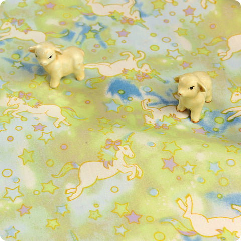 Unicorn - green & blue milky way stars cotton fabric W:160cm FQ1804-02