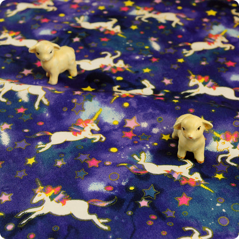 Unicorn - purple & blue milky way stars cotton fabric W160cm FQ1804-03