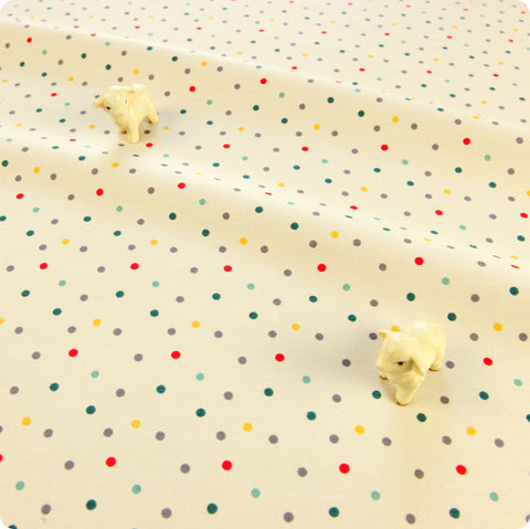 Polka dots - cream multicoloured irregular 4mm spotty cotton fabric W:160cm FQ1804-04