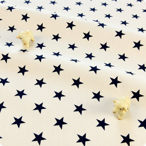Monochrome - white & black stars cotton fabric W:160cm FQ1804-08