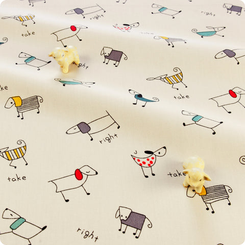 Pets - cream multicoloured puppy dogs cotton fabric W:160cm FQ1804-09
