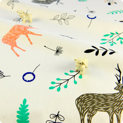 Zoo - cream multicoloured large scale reindeer & leaves cotton fabric W:160cm FQ1804-10