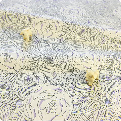 Bold floral - cream, grey & purple line drawing flowers roses cotton fabric W:160cm FQ1804-14