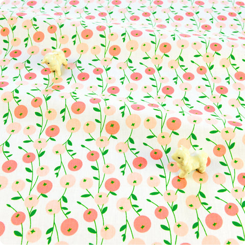 Ditsy - orange & pink round dahlia pom pom flowers cotton fabric W:160cm FQ1804-16