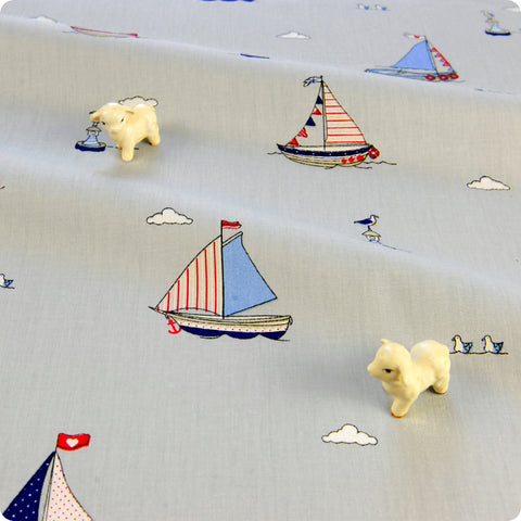 Nautical - grey & blue sailing boats & lighthouses cotton fabric W:160cm FQ1804-17