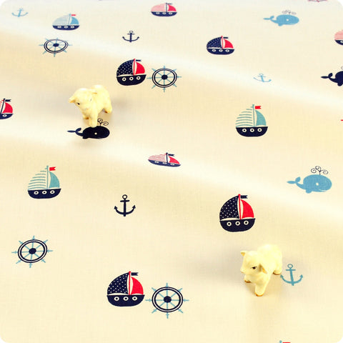 Nautical - cream cute sailing boats, whale & anchor cotton fabric W:160cm FQ1804-18