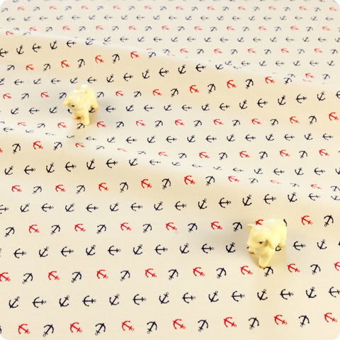 Nautical - cream navy & red petite anchor cotton fabric W:160cm FQ1804-19