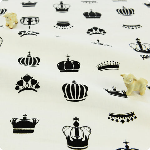 Monochrome - black & white crown print cotton fabric W:160cm FQ1804-21