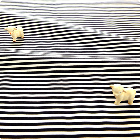 Monochrome - black & white 4mm stripes cotton fabric W:160cm FQ1804-23