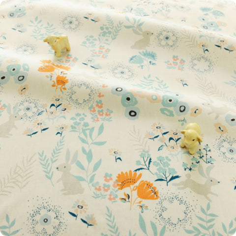 Woodland - blue & white bunny rabbit & flowers cotton fabric W:160cm FQ1804-25